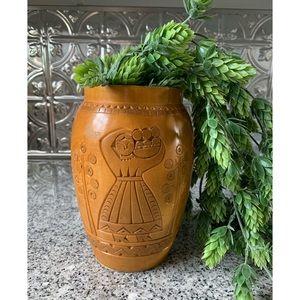 Vintage Hand Carved Wood Vase (Polish?)